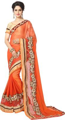 Elevate Women Embroidered Bollywood Chiffon Saree