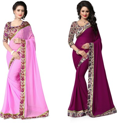 Indianbeauty Printed Fashion Chiffon Saree(Pack of 2, Purple, Pink) Flipkart
