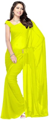 Bollywood Designer Embroidered Fashion Georgette Saree(Yellow)  available at flipkart for Rs.399