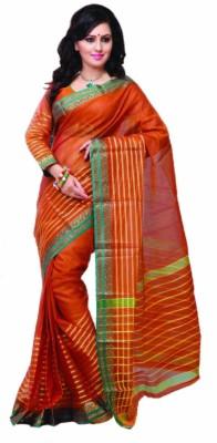 Ishin Striped Fashion Cotton Saree(Orange)