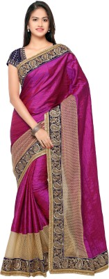 Chirag Sarees Embellished Fashion Raw Silk Saree(Multicolor) at flipkart