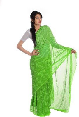 Aaradhya Fashion Printed Leheria Handloom Georgette saree(Light Green)  available at flipkart for Rs.1510