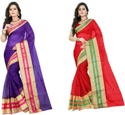 Stylish Sarees Checkered, Striped Fashion Cotton Saree(Pack of 2, Multicolor)
