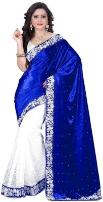 Sargam Fashion Self Design, Embellished Fashion Velvet, Net Saree(Blue, White)