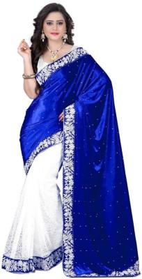 Sargam Fashion Embellished Fashion Velvet, Net Saree(Blue, White) Flipkart