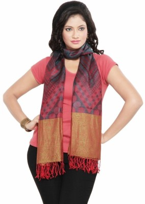 Little India Silk Self Design Women's Shawl(Pink, Red)