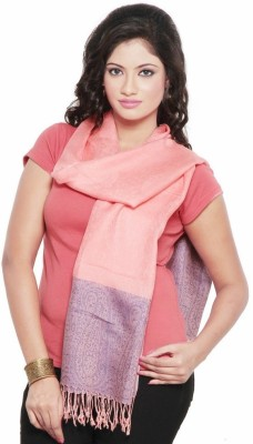 Little India Silk Self Design Women's Shawl(Pink)