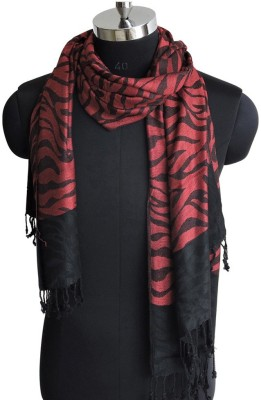 Weavers Villa Cotton Viscose Blend Woven Women Shawl(Red, Black)