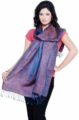 Little India Silk Self Design Women's Shawl(Blue)