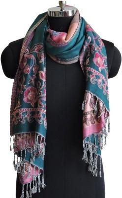 Weavers Villa Cotton Viscose Blend Floral Print Women Shawl(Green)