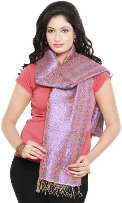 Little India Wool Self Design Women's Shawl(Purple, Pink)