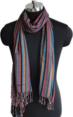 Weavers Villa Cotton Viscose Blend Striped Women Shawl(Multicolor)
