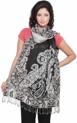 Little India Silk Self Design Women's Shawl(Black, White)