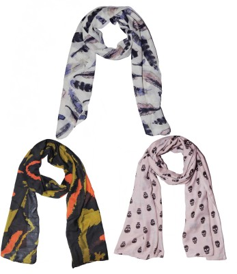 Weavers Villa Printed Set of 3 Scarves, Stoles, Dupattas Small Soft Summer Vibrant Coloured Trendy Women Scarf