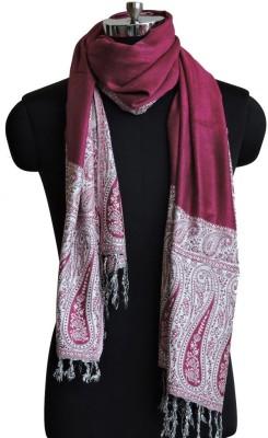 Weavers Villa Viscose Woven Women's Shawl(Pink, White)