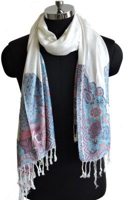 Weavers Villa Cotton Viscose Blend Woven Women Shawl(Multicolor, White)