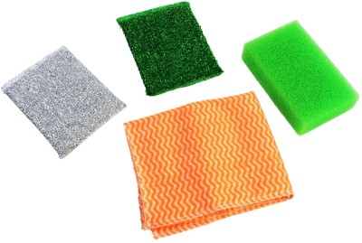 HOKIPO 4 Pieces Cleaning Set: 2 Sponge + 1 Wipe + Scrub Pad(Medium, Pack of 4) at flipkart