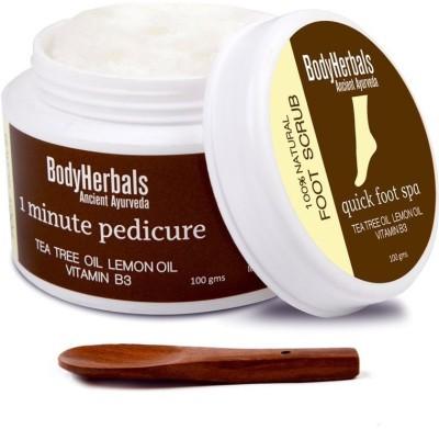 BodyHerbals 1 minute pedicure, Foot Scrub Tea Tree oil, lemon oil & vitamin B3 Scrub(100 g) Flipkart