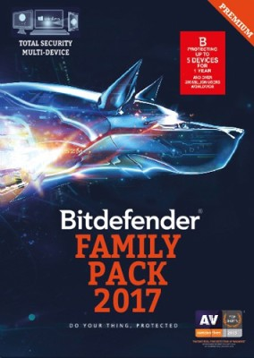 Bitdefender Family Pack 2017 5 PC 1 Year Antivirus