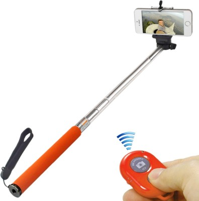 JM Selfie Stick With Bluetooth Remote Monopod(Orange, Supports Up to 600 g)