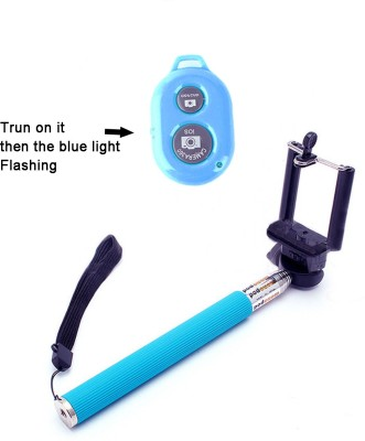 onsmobs Bluetooth Selfie Stick(Blue, Remote Included)
