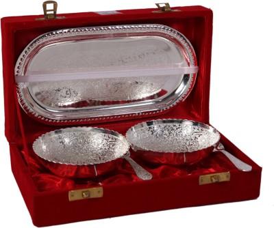JT International German Silver Bowl Tray Serving Set(Pack of 5) at flipkart