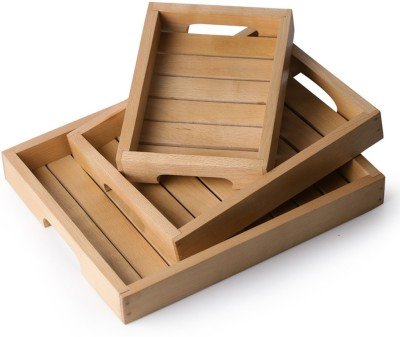 ExclusiveLane Classic Handcrafted - Set of 3 Tray Set(Pack of 3)