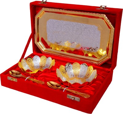 Odna Bichona Silver And Gold Plated Flower Shaped Bowl Spoon Tray Serving Set at flipkart