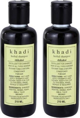 Khadi Herbal Shikakai Shampoo - Twin Pack(420 ml) Flipkart