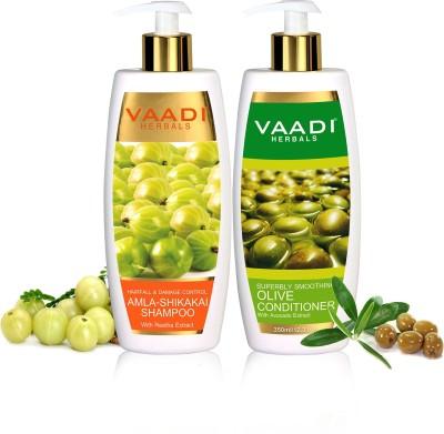 Vaadi Herbals Amla Shikakai Shampoo - Hairfall & Damage Control With Olive Conditioner ( 350 ml x 2)(350 ml)