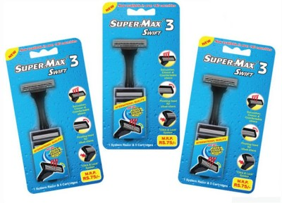 Super Max Swift 3 Razor With 5 Cartridge(Pack of 3)