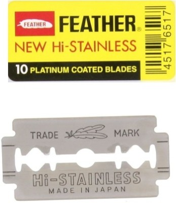 Feather Razor Blades New Hi-Stainless Double Edge(Pack of 10)
