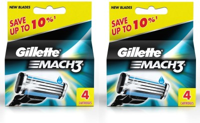 Gillette Mach 3 Pack Of 2 (4 Cartridges)(Pack of 4)