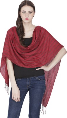 Royal Kashmir Wool Striped Women's Shawl(Red)  available at flipkart for Rs.899