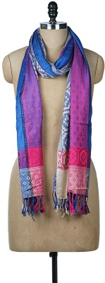 Wake Up Competition Cotton Viscose Blend Printed Women Shawl(Blue)