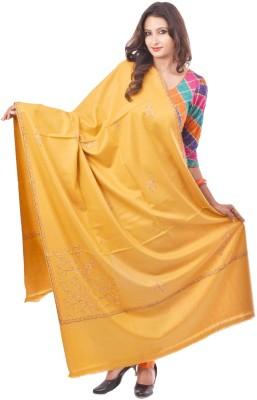 Weavers Villa Wool Embroidered Women's Shawl(Yellow, Gold, Black)