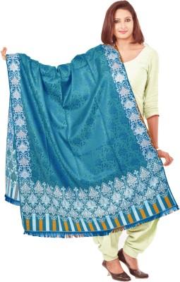 Weavers Villa Polyester Wool Blend Woven Women's Shawl(Green, White, Silver)