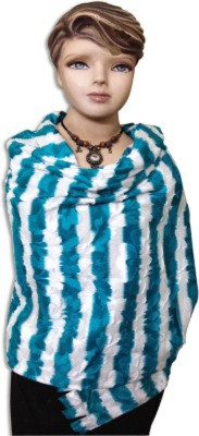 Royal-E-Kashmir Wool Striped Women's Shawl(Blue)  available at flipkart for Rs.599