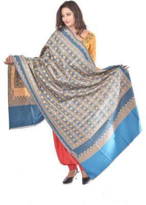 Weavers Villa Wool Blend Woven Women Shawl(Blue, Green, Multicolor)