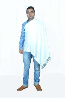 Royal-E-Kashmir Wool Solid Men's Shawl(White)  available at flipkart for Rs.499