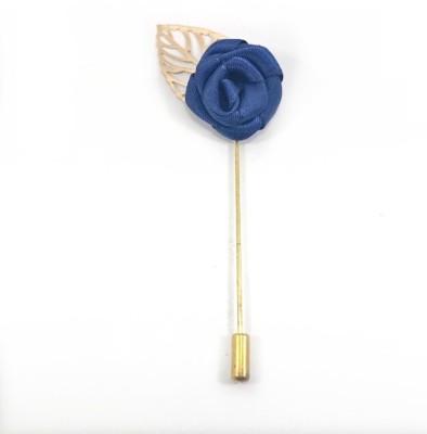 Kidofash BLUE-KFLOWER-KLEAF Brass Sliding Pin Shirt Stud(Blue)
