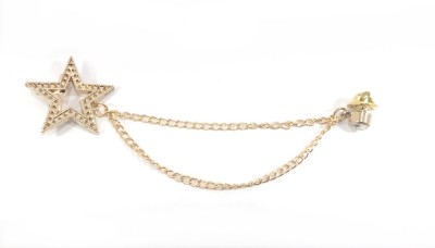 Kidofash GOLD-KCHAIN-KSTAR Brass Sliding Pin Shirt Stud(Gold)