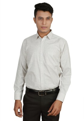 Helg Men's Striped Formal Linen White Shirt