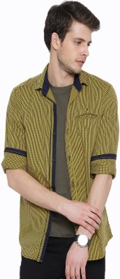 Fifty Two Men's Striped Casual Yellow Shirt