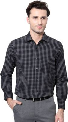 Peter England Men's Checkered Formal Black Shirt