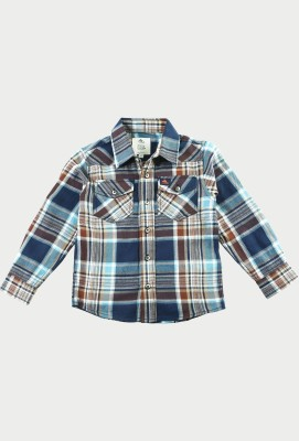 Cherry Crumble California Boys Checkered Casual Brown Shirt at flipkart