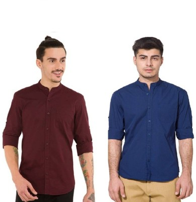 Urbano Fashion Men's Solid Casual Blue, Maroon Shirt(Pack of 2)