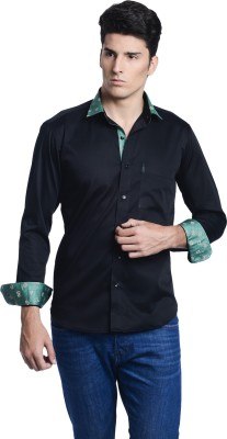 Luxurazi Men's Solid Casual Printed Collar Shirt