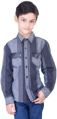 Oxolloxo Boys Solid Casual Blue Shirt at flipkart