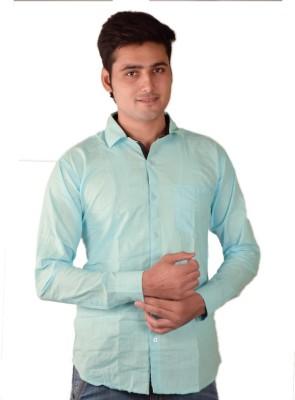 Fuego Men's Solid Casual Light Blue Shirt